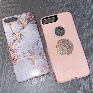 Pink Otterbox and marble case iPhone 6/7/8 plus